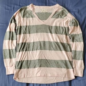 Artizia TNA Del Mar V-Neck Top Pink/Grey Stripe XS
